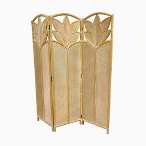 Divisorio o divisorio pieghevole vintage in bambù, anni '70
