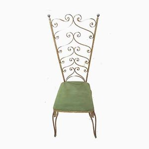Vintage Italian Golden Iron Side Chair by Pier Luigi Colli, 1950s