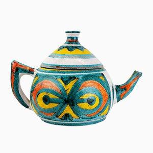 Italian Multi-Colored Ceramic Teapot, 1960s
