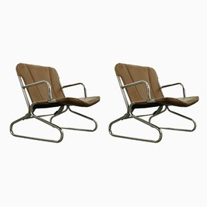Mid-Century Leather & Tubular Steel Lounge Chairs, Set of 2