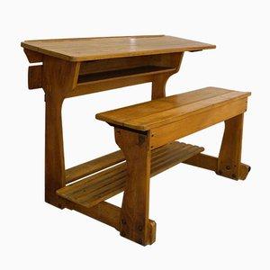 Vintage 2-Sitzer Schultisch aus Holz, 1930er