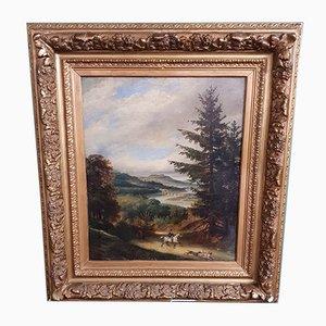 Pittura ad olio di Francois Gabriel Lépaulle, Francia, XIX secolo