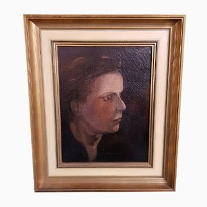 Late 19th Century Impressionist Portrait of A Lady Oil Painting On Canvas
