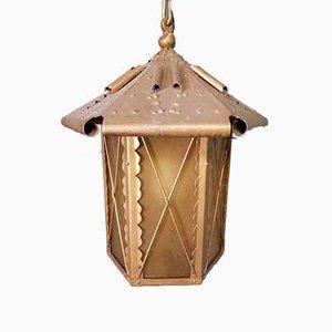 Große Deckenlampe aus vergoldetem Metall, 20. Jh
