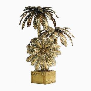 Lámpara de pie grande en forma de palmera de latón, años 70