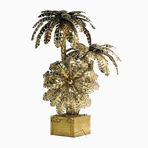 Large Brass Palm Tree Floor Lamp, 1970s