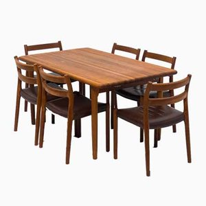 Mid-Century Teak Model 84 Dining Table & Chairs Set by Niels Otto Møller for J.L. Møller Møbelfabrik, Set of 7