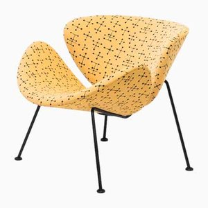 Mid-Century Small Dot Pattern Orange Slice Lounge Chair by Pierre Paulin & Charles and Ray Eames for Artifort