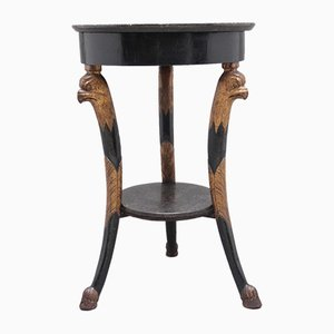 Ebonized & Gilt Side Table with Marble Top, 1800s