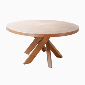 Mid-Century Round French Elm T21 Dining Table by Pierre Chapo