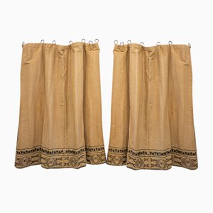 Antique Modernist Linen Curtains, 1900s, Set of 2