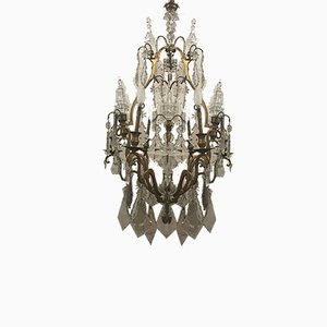 Antique French Gilded Bronze & Crystal Chandelier, 1900s