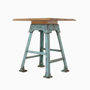 Oak & Steel Console Table, 1920s