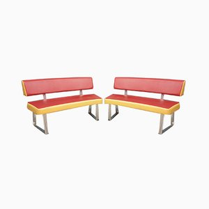 Curved Leatherette & Chrome Plated Benches, 1950s, Set of 2