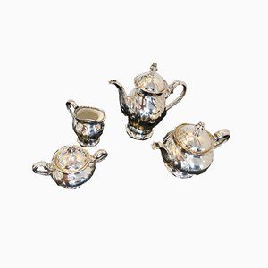 Mid-Century Silver Ceramic Tableware, Set of 4