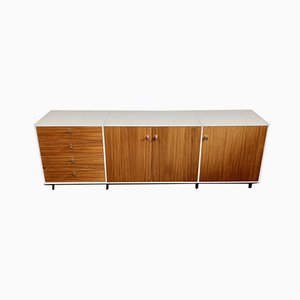 White Sideboard with Teak Doors & Black Steel Feet from Behr, 1969