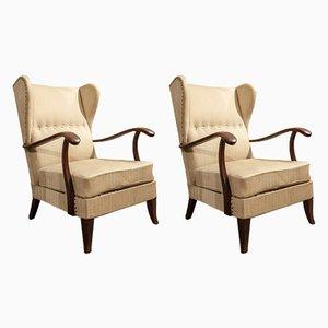 Italian Wood Lounge Chairs by Paolo Buffa, 1950s, Set of 2