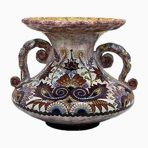 Große Vase von Paul Fouillen Quimper, 1930er