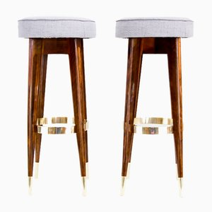 Art Deco Austrian Nutwood Stools, 1920s, Set of 2