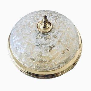 Große Mid-Century Hollywood Regency Glas Deckenlampe von Honsel
