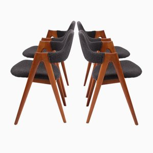 Danish Compass Dining Chairs by Kai Kristiansen for SVA Møbler, 1960s, Set of 4