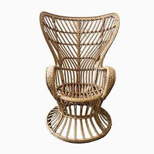 Italian Rattan High-Back Lounge Chair by Lio Carminati, 1950s