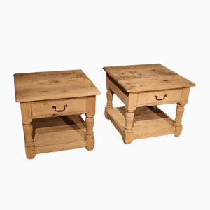Oak Corner Tables, 1990s, Set of 2