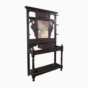 Antiker Englischer Viktorianischer Chinoiserie Stil Flur Regal mit Spiegel, 1800er