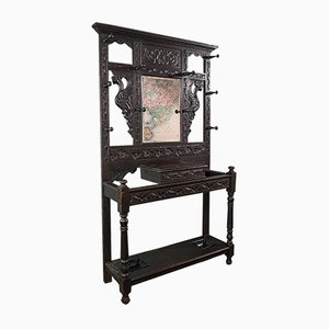 Antique Victorian English Chinoiserie Style Oak Hall Rack with Mirror, 1800s