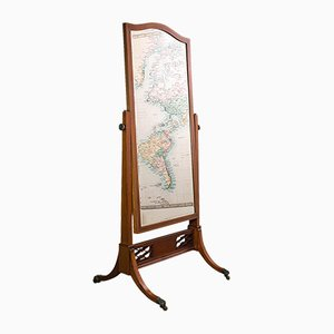 Antique Victorian English Walnut & Boxwood Cheval Mirror, Circa 1900