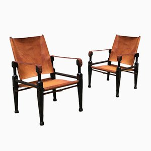 Swiss Safari Lounge Chairs by Wilhelm Kienzle for Wohnbedarf, 1930s, Set of 2
