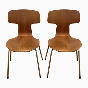 3103 Hammer Chairs by Arne Jacobsen for Fritz Hansen, 1960s & 1980s, Set of 2