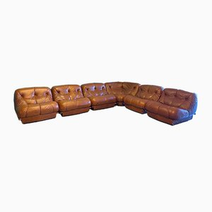 Leather Nuvolone 6-Piece Modular Sofa by Rino Maturi for Mimo Padova, 1970s, Set of 6