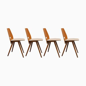 Walnut Dining Chairs by František Jirák for Tatra Nabytok, 1960s, Set of 4