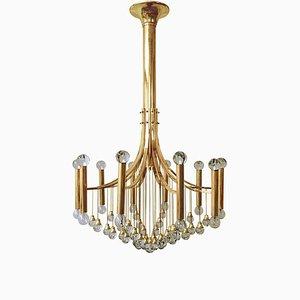Lámpara de araña Mid-Century moderna de metal dorado de Gaetano Sciolari, años 70