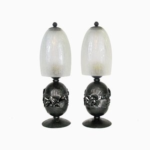 Art Deco Table Lamps by Edgar-William Brandt & Daum Freres, 1920s, Set of 2