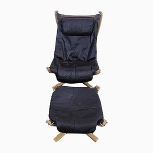 High Back Falcon Chair & Stool by Sigurd Resell for Vatne Lenestolfabrikk, 1990s, Set of 2