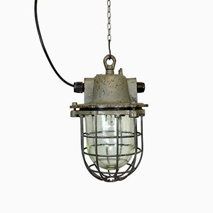 Vintage Industrial Cast Iron Cage Pendant Lamp, 1960s