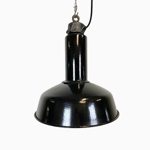 Industrielle Schwarze Emaille Fabriklampe, 1950er