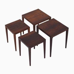 Rosewood Nesting Tables by Severin Hansen for Haslev Møbelsnedkeri, 1950s, Set of 4