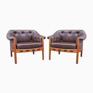 Teak & Leder Sessel von Arne Norell für Coja, 1960er, 2er Set