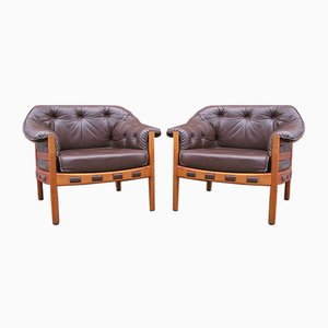 Teak & Leather Lounge Chairs by Arne Norell for Coja, 1960s, Set of 2