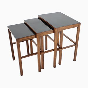 Bauhaus H-50 Nesting Tables by Jindrich Halabala, 1930s, Set of 3
