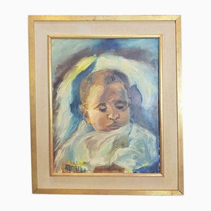Vintage Child Painting on Canvas, 1967