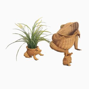Vintage Wicker Frog Magazine Rack by Olivier Cajun