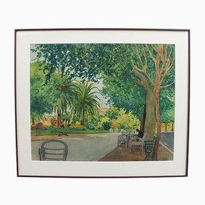 Ein Blick auf den Park in Menton von Tony Minartz, 1930er