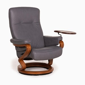 Gray Leather Armchair from Himolla