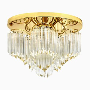 Triedri Crystal Gold-Plated Flush Mount from Venini, Italy