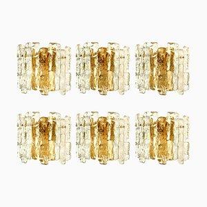 Ice Glass Wall Sconce with Brass Tone by J. T. Kalmar, Austria