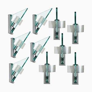 Glas Aluminium Dreieck Wandlampe von Artemide, 1984